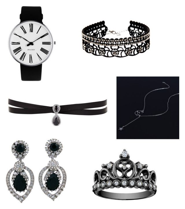 """jewelry black set"" by mary-minge on Polyvore featuring Rosendahl, Ciner, Fallon, Natasha, love and blackandsilver"