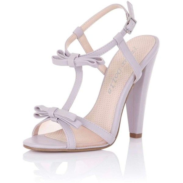**Paper Dolls 'Ellette' Lilac Bow Ankle Heels (£48) ❤ liked on Polyvore featuring shoes, purple, paper doll shoes, bow shoes, ankle wrap shoes, ankle strap shoes and ankle tie shoes