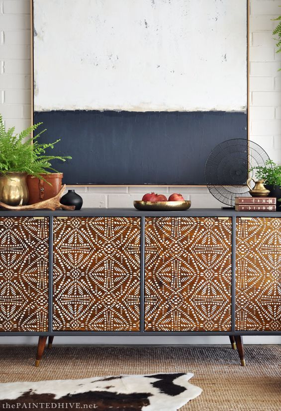 Stenciled tribal buffet DIY | The Painted Hive