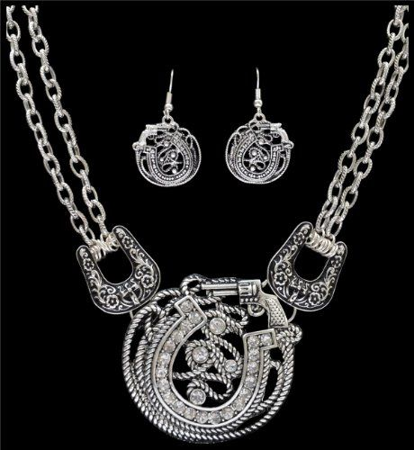 Western Necklace Set Horseshoe and Gun Necklace by Silver Strike 3D Belt Company