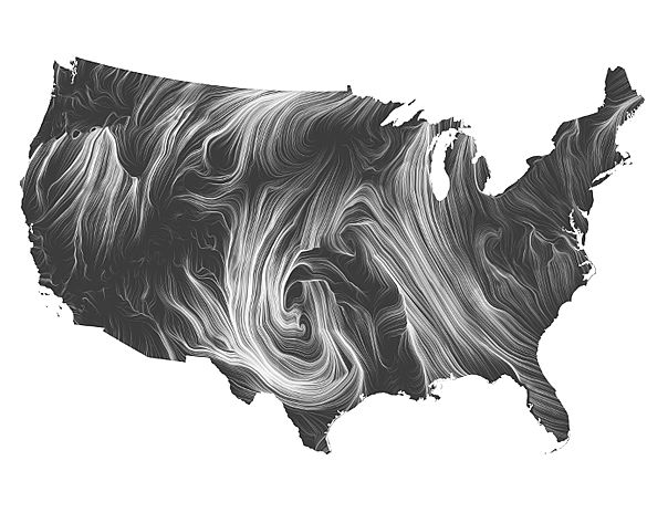 Wind Map - Visualization by Martin Wattenberg and Fernanda Viégas - Take a look at a live wind map here: http://hint.fm/wind/