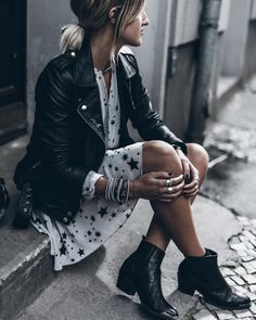 Stars Dress | Moto jacket | ankle boots