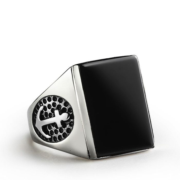 Men's Onyx Ring with Anchor In Sterling Silver Nautical Ring with Black Onyx Stone #mensfashionpost #mensgoldring #ownit #mensringsonline #mensjewelryshop #jewelryofinstagram #rubyring #giftforman