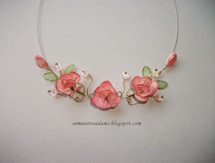 necklace Wire flowers with nail polish / Цветы из проволока и лака для ногтей