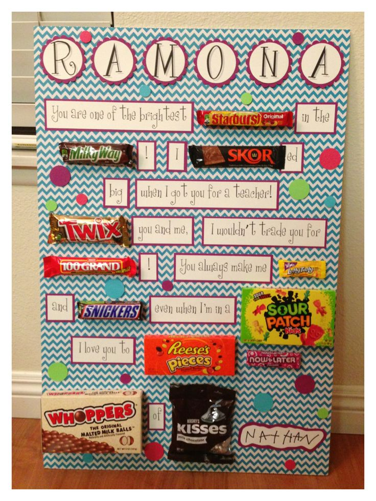 Candy card for birthday, teacher appreciation, or any occasion. Scrapbook paper on foam board.