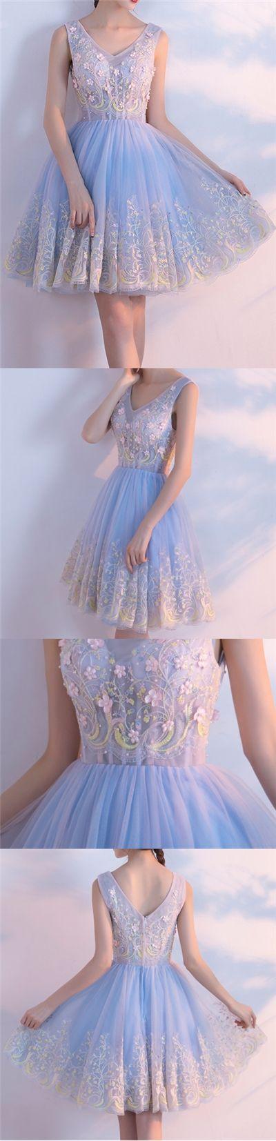 Beautiful Homecoming Dress V-neck Appliques Tulle Short Prom Dress Party Dress JK304