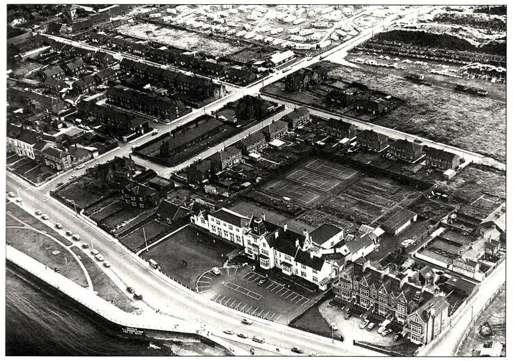 Aerial view of Staincliffe Hotel and The Cliff Seaton Carew.....quite a few tennis courts behind the Staincliffe and what looks like quite a large caravan site upper part of photograph.