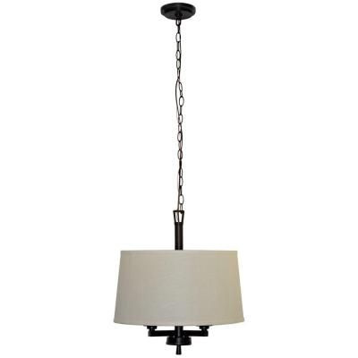 Hampton Bay Atchison 3-Light 18 in. Oil Rubbed Bronze Drum Pendant with White Linen Shade-ES4697OB4 at The Home Depot