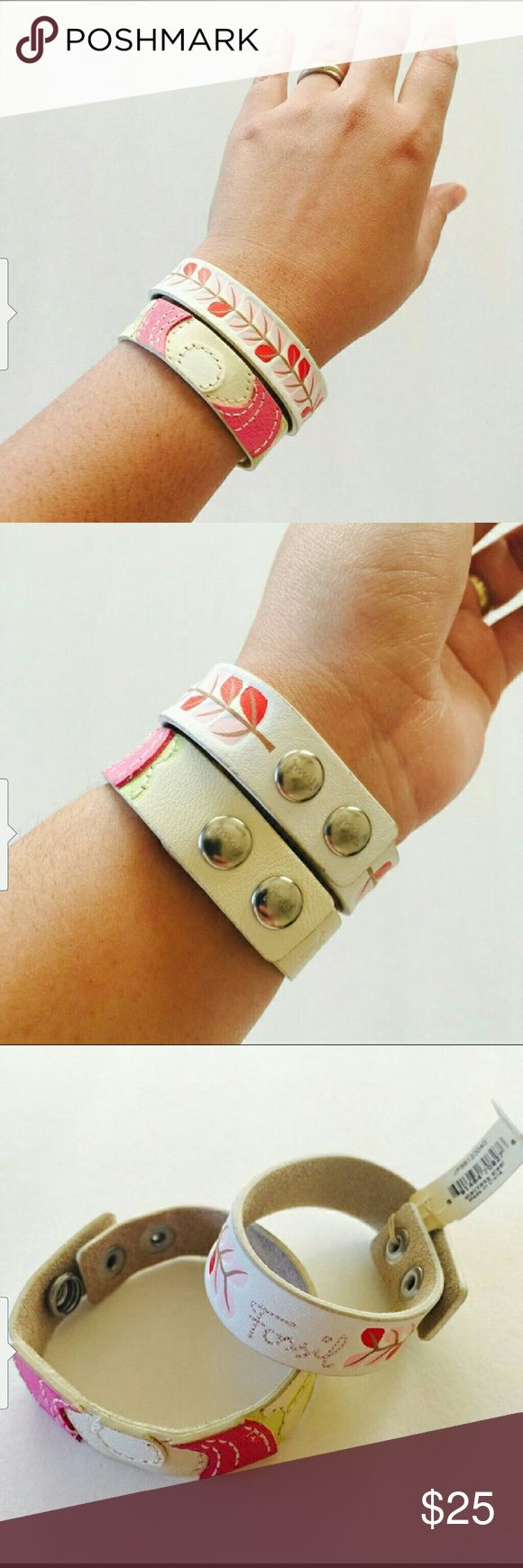 2 PC BUNDLE OF FOSSIL BRACELETS 2 beautiful FOSSIL BRACELETS 1. is new 2. Is in euc...worn 2 times 25 for both or 15 for 1 2 snaps to fit any wrist Fossil Jewelry Bracelets