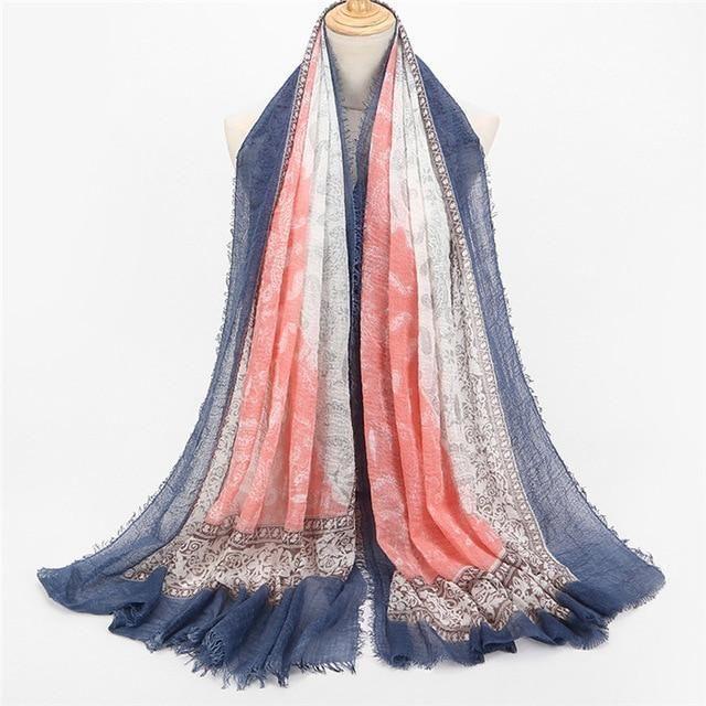 Solid Color Women Spring Ladies Silk Scarf Muslim Tassel Monochrome Headscarf