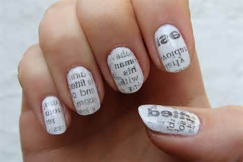 Newspaper nails!!  Step 1: paint nails with 2 coats of white nail polish and let dry Step 2: rip up bits of newspaper into a little bigger than your nail  Step 3: dip nail in rubbing alcohol for about 5 seconds Step 4: take a piece of your newspaper and press it over your nail. Gently hold down for 10 seconds  Step 5: gently peel off Step 6: once doing steps 3-5 on every nail, top with a clear coat  Enjoy!!