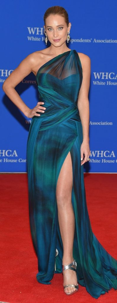 Hannah Davis walked the red carpet at the White House Correspondents' Dinner in this mesmerizing Georges Chakra number, complete with a leg slit.