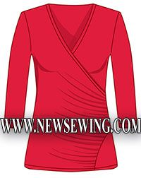 pattern, free : Blouse with draped (effect of smell) #dress #patterns