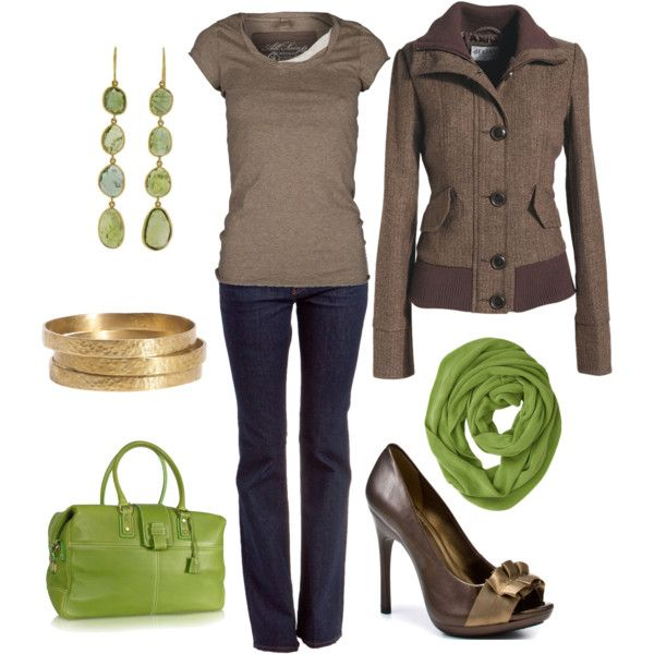 Naughty by Neutrals, created by blue-star-marie.polyvore.com: Casual Outfit, Color Combos, Green Accent, Earth Tones, Jackets, Fall Outfit, Heels, Cute Outfit, Limes