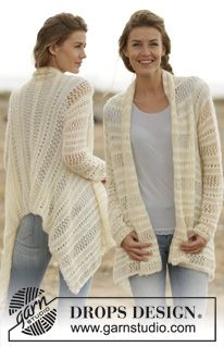 """Knitted DROPS jacket with lace pattern in """"Baby Merino"""" and """"Brushed Alpaca Silk"""". Size: S - XXXL. ~ DROPS Design"""