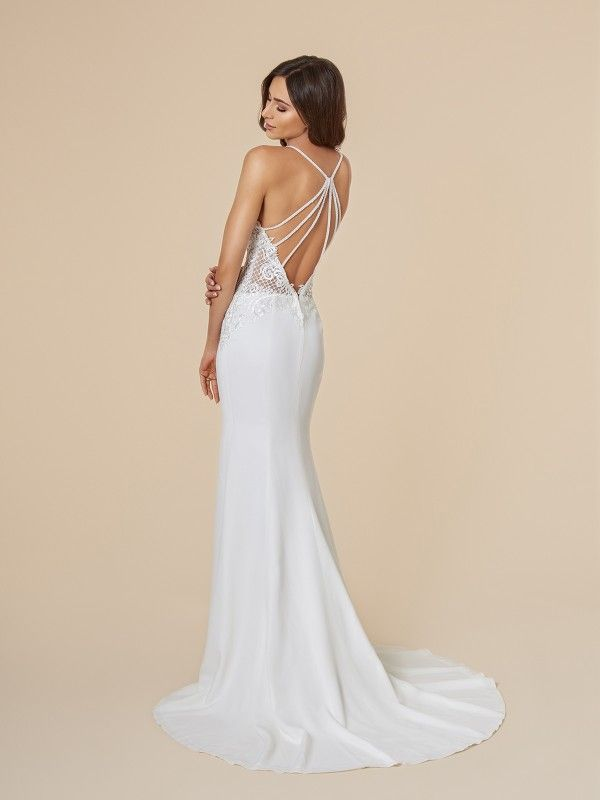 80d0de58559 Moonlight Tango T847 is a sexy crepe wedding dress with beautiful strappy  back detailing and low illusion lace detail.  beachwedding   destinationwedding ...