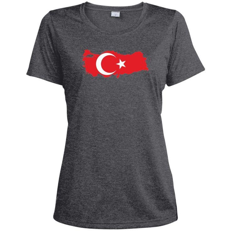 Turkey flag-01 LST360 Sport-Tek Ladies' Heather Dri-Fit Moisture-Wicking T-Shirt