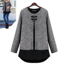 2015 yeni sonbahar kış moda kadın o- Boyun bırakın iki şifon splice gömlek spor uzun bir bölüm şifon etek bluz artı boyutu 5XL(China (Mainland))