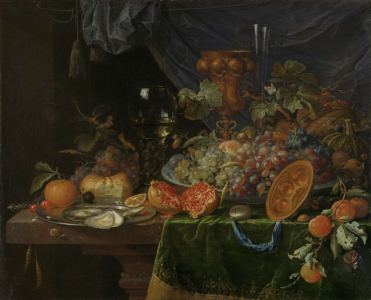 Still life with fruit and oysters, Abraham Mignon, 1660 - 1679