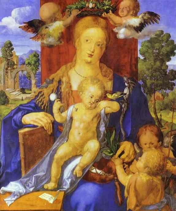 Acheter Tableau 'Madonna avec un Tarin des aulnes' de Albrecht Durer - Achat d'une reproduction sur toile peinte à la main , Reproduction peinture, copie de tableau, reproduction d'oeuvres d'art sur toile