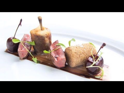 ▶ Pan fried wood pigeon, foie gras, cherries and chocolates: Bryn Williams, Odettes Restaurant London - YouTube