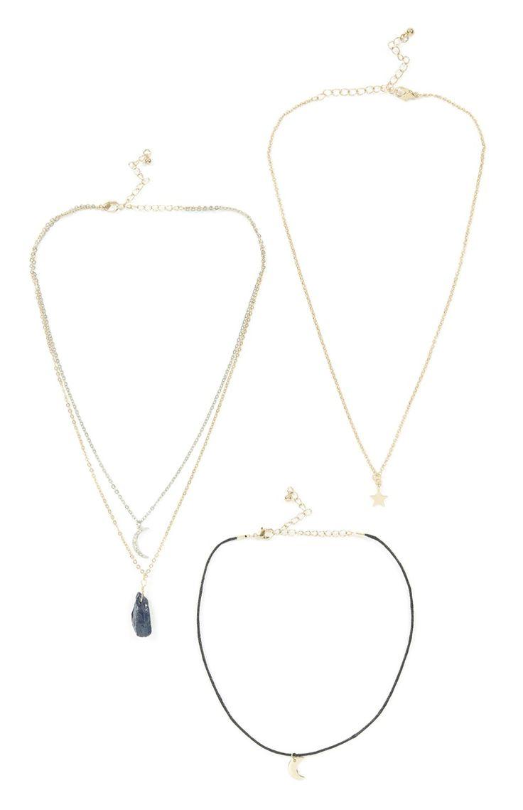 Primark - Pack de 3 colares pendentes lua