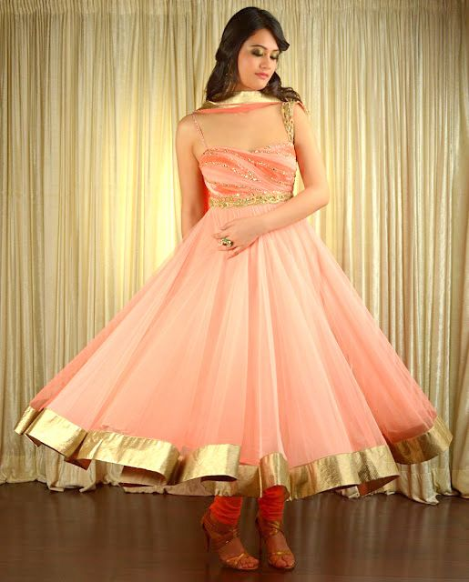 The perfect peach anarkali   #indiandesigners
