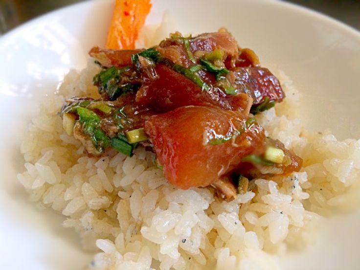 美穂''さんの料理 ニラ醤油で昨日の刺身を鰹のスタミナ漬け丼にしました。
