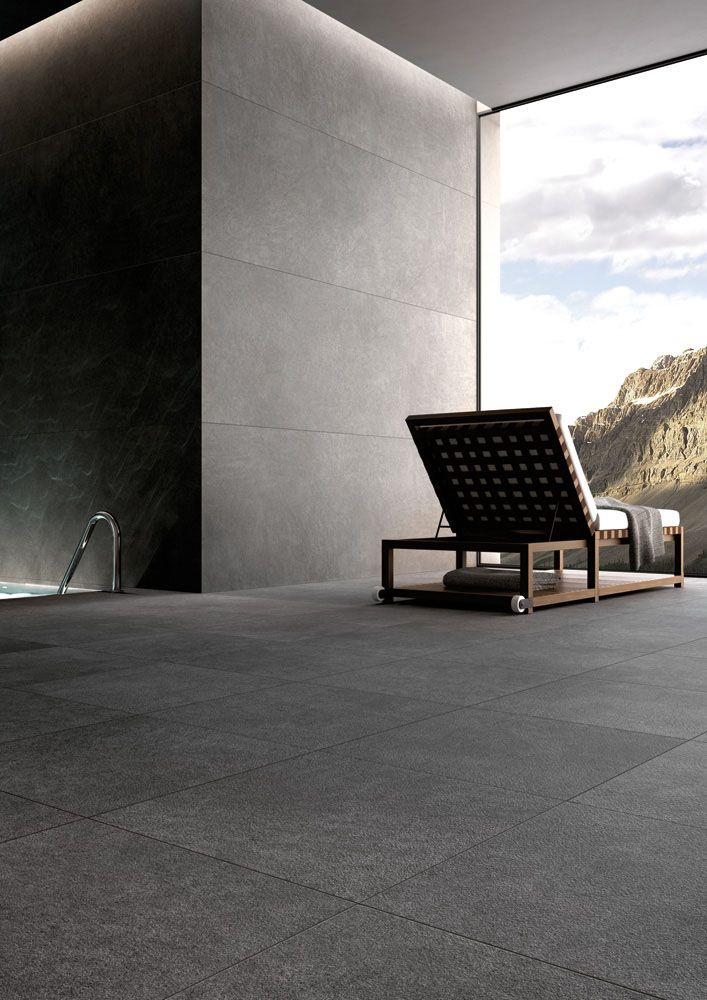 Stonelab Seires   Color Pietra Serena Textured Grey Stone Looking Italian  Porcelain. Matching Indoor