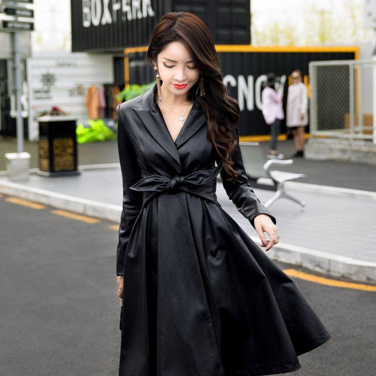 Новый Корейский кожа Лацкане лук пояса талии большой кардиган платье сплошной цвет закаленное дизайн тонкий платье купить на AliExpress