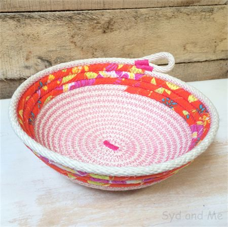 Fabric Basket - awesome combination of bright orange & hot pink.   www.facebook.com/SydAndMe