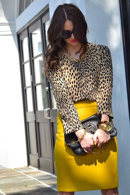 Impressive leopard shirt with yellow skirt