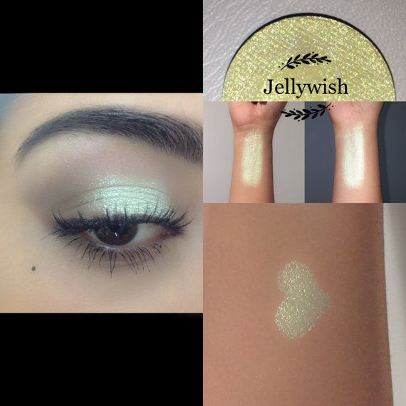 Welcome to Enchanted lustre! Where all items are hand made and made to order ❤️  26mm pan only:  Jellywish: this yellow-green jelly grants you the gift of glow! All ingredients in our eyeshadows are vegan (except red/rust colours), cruelty free, paraben free, talc free, highly pigmented, natural and blendable. Ingredients - Mica, propyl alcohol, coconut oil, purified vitamin E oil, vegetable glycerin, maizena, phenoxyethenol & ethylhexyglycerin (plant based preservative). -- * Pre-Or...