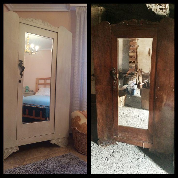 Armario restaurado. Autentico chalk Paint. Chalkpaint. Blanco antiguo. Wardrobe. Closet