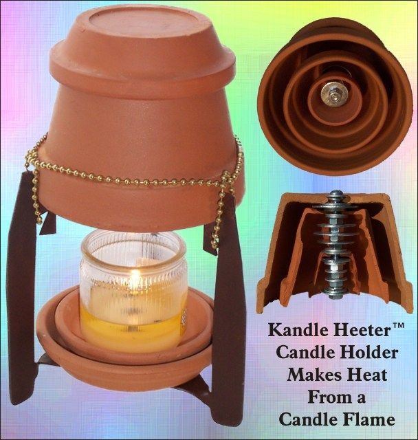 Heater made from terra cotta pots and a candle.  I'd like to try this.