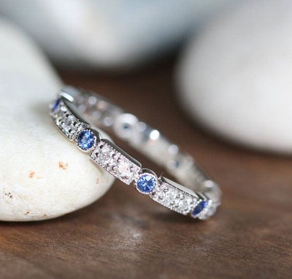 Art Deco Inspired Sapphire Diamond Eternity Band in 14k White Gold Women Diamond Wedding Ring Sapphire Anniversary Ring (Custom Made ok)
