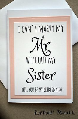 Will You Be My Bridesmaid/ Maid of Honour / Flower Girl / Greetings Card - CMP
