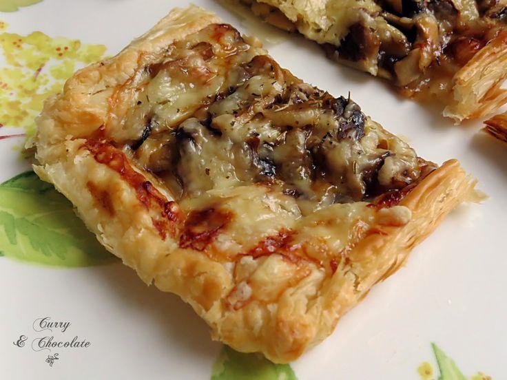 Hojaldre de setas  y cebolla confitada o caramelizada – Caramelized onion and mushroom puff pastry