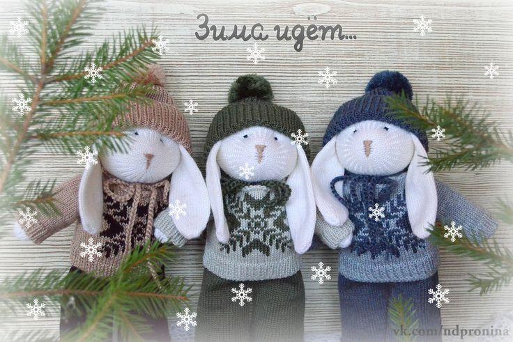 @ndpronina  knitted rabbit, new year, present for baby, knitted toys, knitting, christmas, hand made, вязаная игрушка, вязаный заяц, вязание для детей