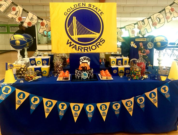 Golden State Warriors theme candy table by Glam Candy Buffets!