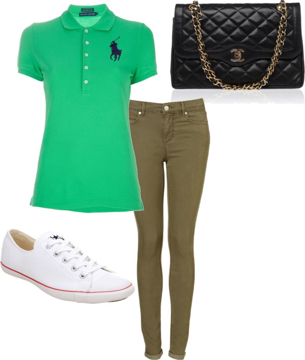Eleanor Calder inspired outfit with khakis and a green polo by eleanorcalder-style featuring converse sneakersRalph Lauren Blue Label logo polo shirt, $100 / Super skinny jeans / Converse  sneaker, $62 / Vintage shoulder bag