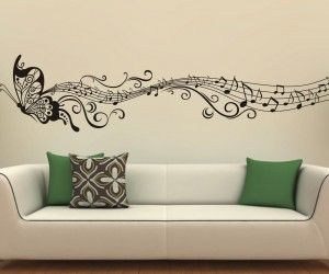 Wall Design : Music Butterfly Wall Decals Wall Stickers Vinyl By  Looksbetter Home Decor Vinyl Stickers By Art Stick ~ Resourcedir Home Direc. Part 78