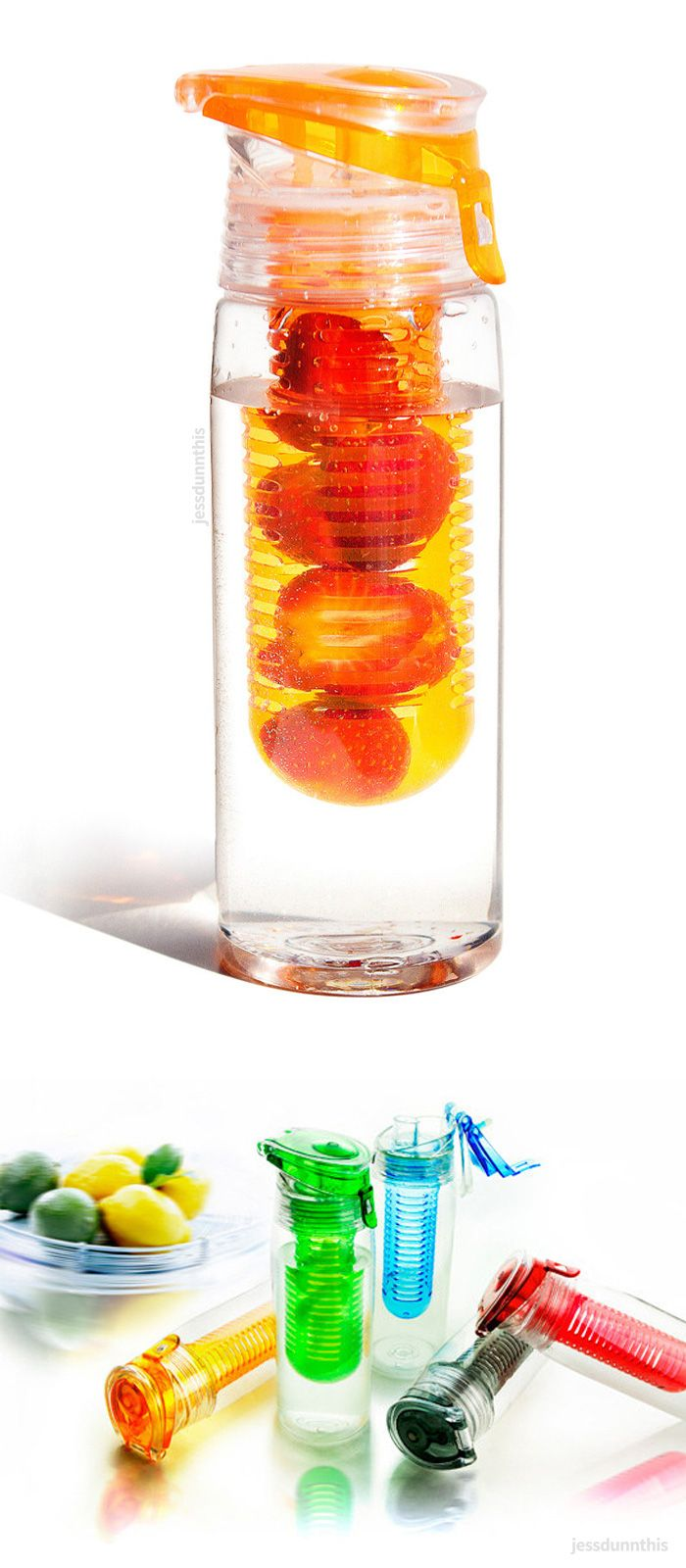 Fruit infusing water bottle - fill with berries or citrus etc for a healthy infused drink! #product_design