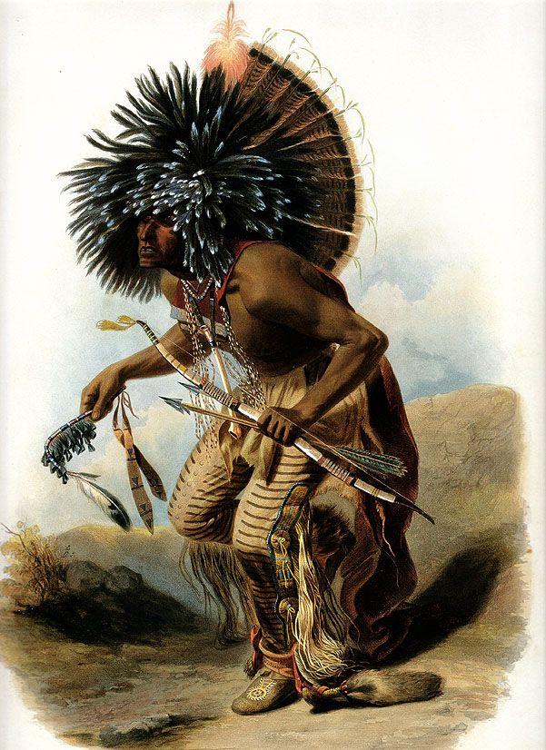 Pehriska-Ruhpa Moennitarri-Warrior 1833 by Karl Bodmer ...