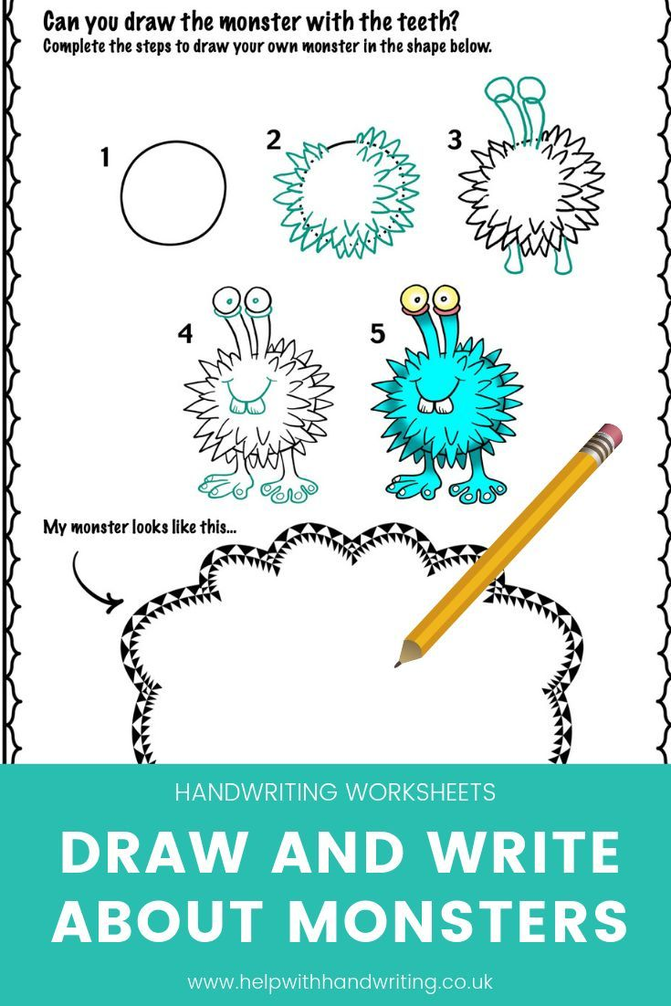 Learn How To Draw Monsters And Write Sentences Kids Handwriting