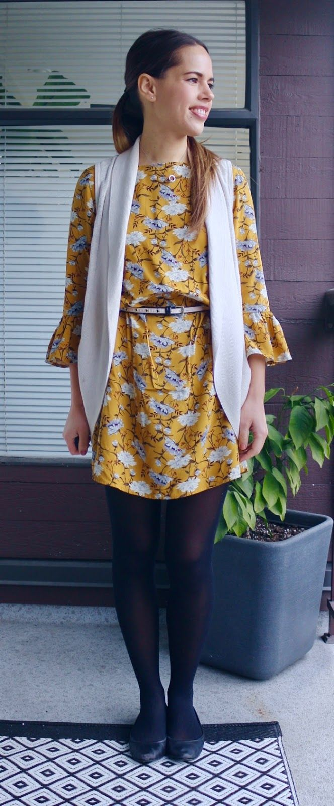 Jules in Flats - Yellow Floral Dress with Sweater Vest for Work