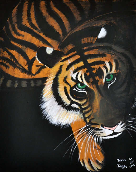 Tiger painting 16x20 original by MemoriesByTessa on Etsy, $300.00  Use coupon code HOLIDAY for 25% off