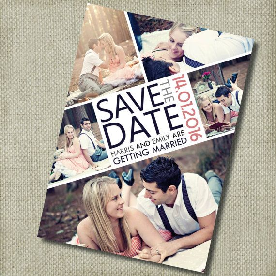Photo Collage Save the Date Invitation ~ DIY PRINTABLE ~ Professional Printing
