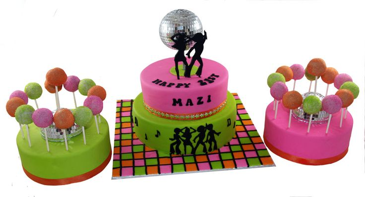 Disco Themed Cake Pops (with matching cake) Like us at www.facebook.com/melianndesigns