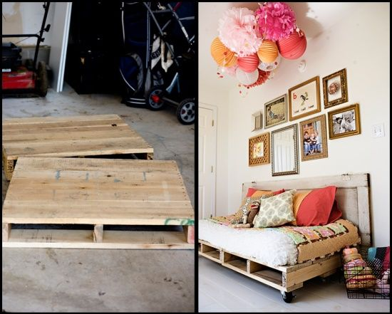 SIMPLE TWIN BED FRAME: This bed frame is made with 2 palettes and an old door.  The palettes are on the bottom and double as storage for our scrapbook paper and canvases.  The old door has been turned sideways and fastened to the palettes to create the head board.